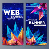Web banners with faceted crystals. Glass asteroid in outer space. Abstract geometric figure origami on a dark blue Royalty Free Stock Photography