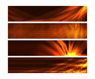 Web banners with fire like effects and textures. A set of 3 web banners for websites, blogs and advertisements Stock Photos