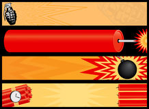 Web banners that go boom!. Including a grenade, bomb, time bomb and firecracker Stock Photo