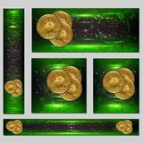Web banners with golden bitcoin and dark green background with microchip and place for your text. vector illustration