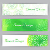 Web Banners With Green Lotus Stock Image