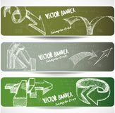 Web banners with Hand-drawn sketchy arrows Royalty Free Stock Photo