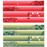 Web banners, headers. Nature theme banners, headers in red and green over white Royalty Free Stock Photos