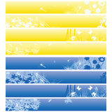 Web banners, headers. Nature theme banners, headers in blue and yellow over white Stock Photos