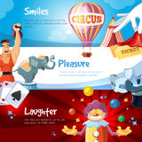 Web banners with illustration of circus show Stock Photography