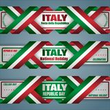 Web banners for Italian Republic day, celebration. Set of web banners design, background with texts and national flag colors for Italy, National holiday Royalty Free Stock Image