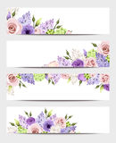 Web banners with pink, purple and white roses and lilac flowers. Vector eps-10. Royalty Free Stock Photo