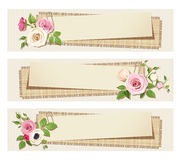 Web banners with pink and white flowers. Vector eps-10. Vector vintage web banners with pink and white flowers on a cardboard background Royalty Free Stock Photos