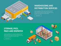 Web banners provision of warehouse service and Storage, pick, pack and dispatch. Isometric vector illustration.  royalty free illustration