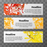 Web banners with red, yellow and orange splashes of paint. Set of web banners with red, yellow and orange splashes of paint and text place on transparent Royalty Free Stock Photography