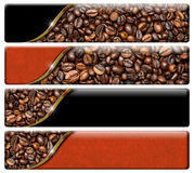Web Banners with Roasted Coffee Beans. Set of four horizontal web banners with roasted coffee beans and copy space.  on a white background Stock Photography