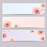 Web banners with roses. Vector eps-10. Set of three vector web banners with roses Royalty Free Stock Photography