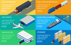 Web banners set of logistics chain. Royalty Free Stock Photography