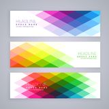 Web banners set made with abstract colorful rhombus shapes. Vector Royalty Free Stock Image