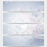 Web banners set, molecular design header layout Royalty Free Stock Photo