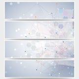 Web banners set, molecular design header layout Royalty Free Stock Photo