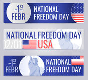 Web banners set for National freedom day USA Royalty Free Stock Photos