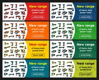 Web banners set power tools promotion Royalty Free Stock Image