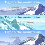 Web banners set on the theme of mountains, adventures, tourism. Trip, ski-resort, snowboarding, ski. Vector illustration. flat design Stock Photos