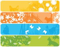Web banners with spring theme. Four web banners announcing the spring Stock Photos