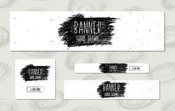Web Banners Templates hand drawn modern style for the design of web sites and online shops. Vector Stock Images
