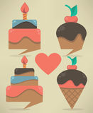 Web banners and text boxes, look like sweets and cakes. Vector collection Birthday greeting colorful web banners and text boxes, look like sweets and cakes Royalty Free Stock Photos