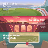 Web banners on the theme of travel by train Stock Photo