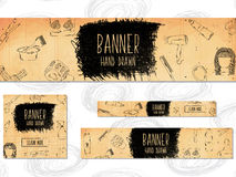 Web Banners for websites 4 different sizes in retro style hand drawn. Barber, beauty and style. Vector Royalty Free Stock Images