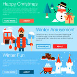 Web banners with winter leisure symbols Stock Image