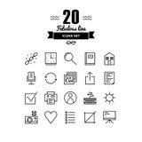Web basic line icons set Stock Photos