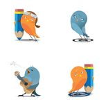 Web birds. Orange and blue birdies with pencils and a guitar isolated Royalty Free Stock Photography