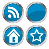 Web blue buttons. Metallic silver framed rounded web buttons for your blog Stock Images