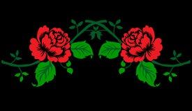 web Bordado de las rosas rojas ilustración del vector