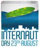 Web browser avec l'océan et la planche de surf de Digital pour le jour d'internaute, illustration de vecteur Photo stock
