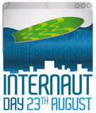 Web Browser with Digital Ocean and Surfboard for Internaut Day, Vector Illustration Stock Photo