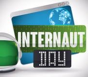 Web browser, Digital-Zeichen und Astronaut Helmet für Internaut-Tag, Vektor-Illustration Stockfotografie