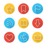 Web browser flat linear long shadow icons set Royalty Free Stock Images