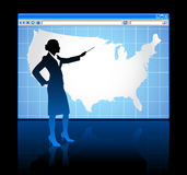 Web browser internet concept with US map Royalty Free Stock Photos