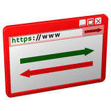 Web Browser window. 3D rendering. Web Browser window,  on white background. 3D rendering Royalty Free Stock Images