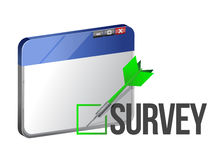 A web browser window shows the word Survey Royalty Free Stock Photography