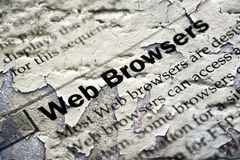 Web browsers grunge concept. Close up of Web browsers grunge concept Royalty Free Stock Photo