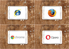 Web browsers brands and logos internet explorer , firefox , google chrome and opera. Logos and brands of web browsers internet explorer , firefox , google chrome Royalty Free Stock Photo