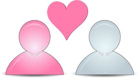 Web buddy icons with a heart Stock Photography