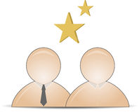 Web buddy icons with stars. In the middle stock illustration