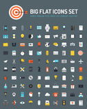 Web and business big flat icons set. Flat icons big set of business and marketing objects, office and working equipment, communication and technology items Royalty Free Stock Images