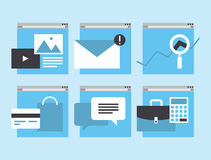 Web business and financial service icons. Modern flat icons  collection in simple window browser of web business communication and financial item and service Stock Images