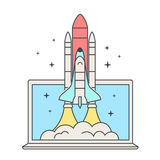 Web business startup concept. Space Shuttle Launch. Spaceship and laptop. Space shuttle takes off. Stock Images