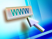 Web button. Internet concept showing a mouse pointer and a world wide web button. Digital illustration Royalty Free Stock Photography