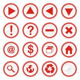 Web Button. Various button, 16 red buttons Royalty Free Stock Images
