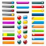 Web Button. Vector illustration of set of colorful web button in different shape Stock Photo